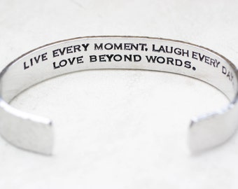 Inspirational Jewelry, Quote Bracelet, Graduation Gift, Inspiration Bracelet, Mantra, Secret Message Cuff, Silver Bracelet Mens Jewelry