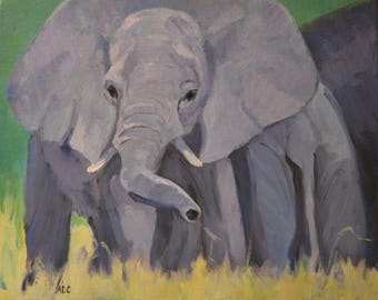 Elephant oil painting, wildlife art, African elephants