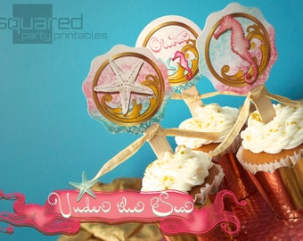 """Mermaid Cupcake Toppers - Under the Sea Printable 2"""" Birthday Party Circles - DIY - Do-It-Yourself Printables"""