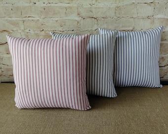 Ticking Pillow - Ticking Stripe Pillow - Black Ticking Pillow - Red Ticking Pillow - Blue Ticking - French Ticking - Farmhouse Ticking