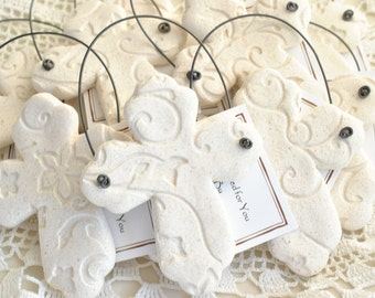 Imprinted Cross Baptism / Communion / Wedding Favors Set of 6 Salt Dough Easter Napkin Ring Ornaments