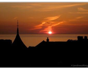 Rooftop Silhouettes, Sunset Photography, Home Decor prints, Fine Art Photography, Silhouette Prints, Orange & Black Print