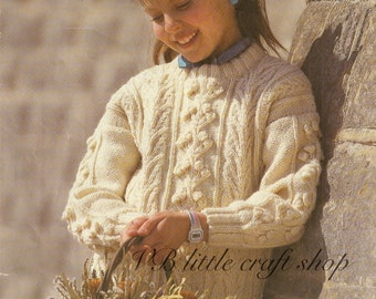 Child's aran sweater knitting pattern. Instant PDF download!