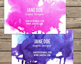 Watercolor Business Card, Mommy Card or Calling Card - Customizable, Predesigned, Single Sided, PRINTING AVAILABLE + Free Shipping