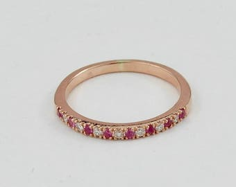 9ct Rose Gold Diamond and Pink Sapphire Eternity Ring - Diamond Ring - Sapphire Ring - Diamond Wedding Ring - Rose Gold Ring