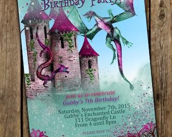 Fille Dragon faire-parts, invitations de Girly Dragon, Dragon Party, fête d'anniversaire de Dragon, Dragons