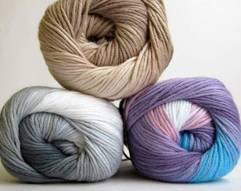 Cotton yarn, soft, classical unbrushed, pastel mix., choose 1 or take all 3 colors