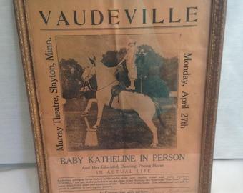 Baby Katheline Vaudeville Advertisment 1924