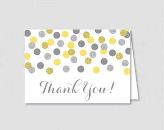 Printable Yellow and Silver Bridal Shower Thank You Card - Yellow and Gray Glitter Polka Dots Bridal Shower Thank You Card - 0001-Y