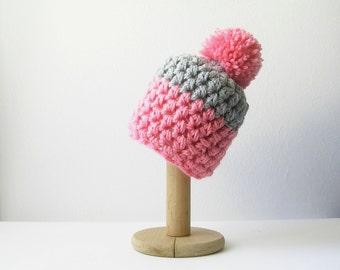 Candy Pink Beanie with Pom Pom   Chunky Pompom Women's Beanie Pink and Grey Hat