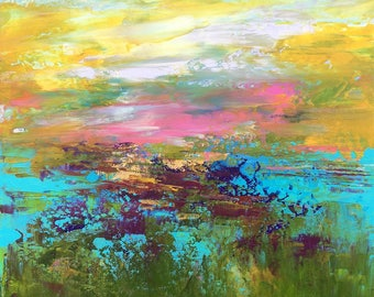 Abstract Landscape 'Forever Young' - acrylic painting on canvas - size 30cm x 30cm