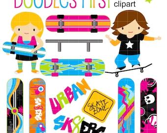 Skateboard Kids Digital Clip Art for Scrapbooking Card Making Cupcake Toppers Paper Crafts