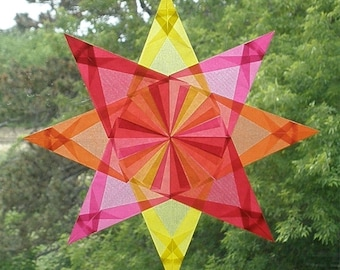4 Color Waldorf Window Star in Yellow, Pink, Orange, and Red