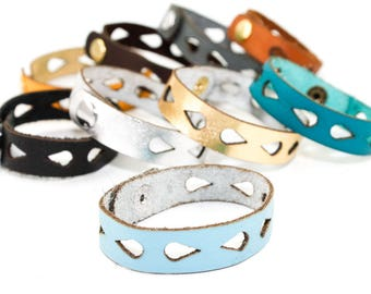 Leather Bracelet - Teadrop Pattern - Geometric Laser Cut Leather Cuff (Choose Your Color and Size)