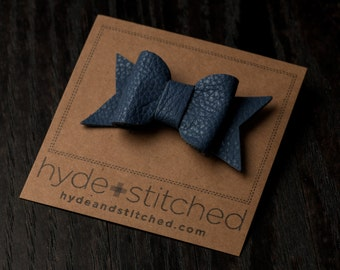"""Arctic Blue Leather Hair Bow, One 2.5"""" Handcrafted Leather Bow, Hair Accessory"""