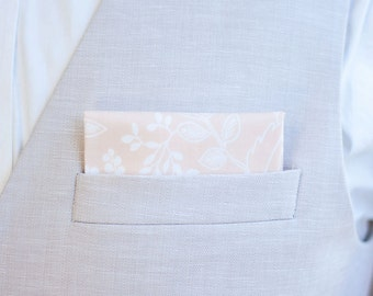 Pocket Square, Pocket Squares, Handkerchief, Mens Pocket Square, Boys Pocket Square, Rifle Paper Co - Queen Anne In Peach