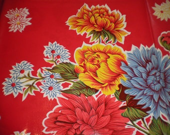 46x60 Oilcloth TABLECLOTH in red background with flowers
