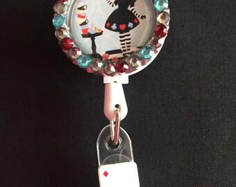 Alice in Wonderland Retractable I.D. Badge Holder, ID Badge Holder, Nurse Badge Reel, Name Badge Reel, Name Badge Holder, ID Badge Reel