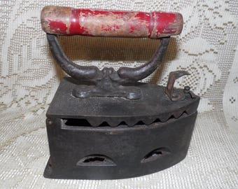 Antique Cast Iron Hot Coal Sad Iron Red Wood Handle
