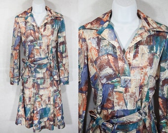 Vintage 70's COUNTRY MISS Oil Painting Printed 2 Piece Set S