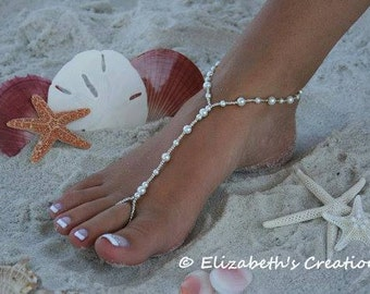 Barefoot Sandal - Simply Elegant White Pearls and Silver Beads, Destination Wedding, Beach Wedding, Bridal Shoes, Beaded Pearl Sandal