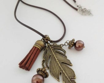Autumn tassels leaves pendant necklace