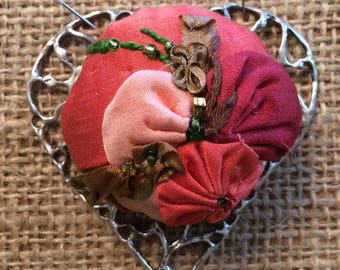 Pin Cushion Large Open Hearts Chatelaine by Thimbles by TJ Lane