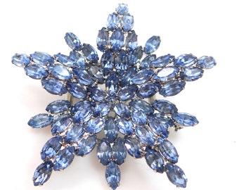 1950's Blue Rhinestones Snowflake Layered Pin