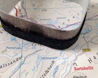 Icelandic fish skin leather cuff bracelet- grey wolf fish and black salmon skin