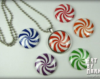 Peppermint Twist Candy Inspired Magnetic Interchangeable Pendant Gift Set