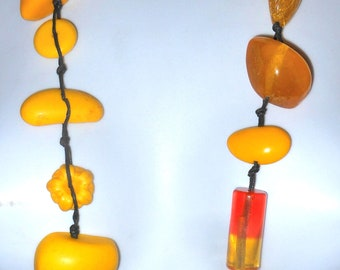 """Sobral 37"""" Long Aventuras Indiana Chunky Yellow Statement Necklace Brazil Import"""