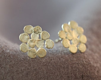 Unique gold earrings, solid gold stud earrings, 14k gold earrings, gold post earrings, gold cluster earrings, handmade artisan jewelry