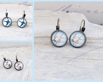 vintage swallow earrings