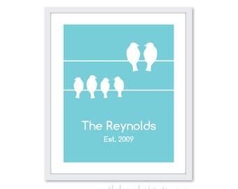 Personalized Family Art Print - Birds Family Sign - Family Name Poster - Wedding Anniversary Gift