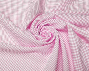 Keira PINK Mini Checkered Poly Poplin Fabric by the Yard - 10048