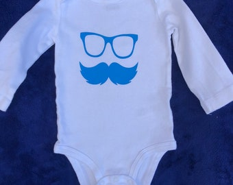 Baby boy onesie with glasses and mustache