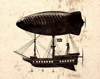 Beware Airship Pirates Steampunk Art Poster Print Wall Decor