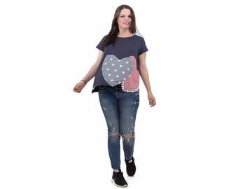 Gray-blue organic cotton top/ women cotton top/ women summer top with hearts/ handmade women top/ short sleeves top/ women asymmetrical top