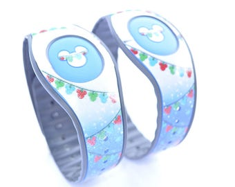 Christmas Lights Magic Band 1.0 or 2.0 Decal | Custom Waterproof MagicBand Skin  | RTS Ready To Ship | Glitter MagicBand Decals