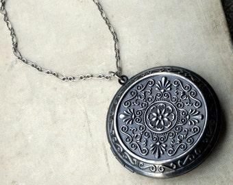 Long Silver Locket Necklace, Silver Locket Necklace, Dark Oxidized Silver, Large Locket, Long Necklace