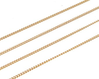 1 meter, NP-1802 Rose Gold plated, 130S Curb chain, Rose gold Chain, Chain for Necklace, Bracelet