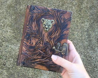 Steampunk Journal, Leather Journal, Leather Notebook, Leather Sketchbook, Cheetah Journal, Embossed Leather, Gift Idea
