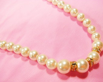 Vintage 70's Faux Pearl & Rhinestone Necklace