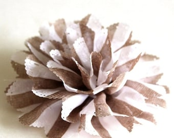 Clearance sale White and brown stripe fabric flower brooch