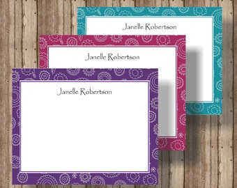 PERSONALIZED STATIONERY NOTECARDS for Women Beautiful Jewel Toned Flat Notecards/Boxed Set of 12/Mother's Day Gift/Burgundy, Plum, Jade