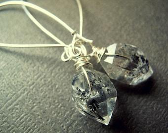 Herkimer Diamond Earrings - Raw Crystal Earrings - Herkimer Diamond Jewelry - Raw Quartz Earrings - Sterling Silver Quartz Earrings