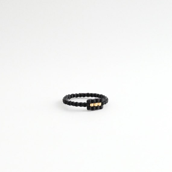 Black and Gold Baguette Ring