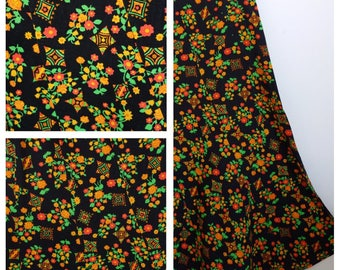 Lovely Vintage 1970s Midi Skirt 12 Floral Summer Psychedelic