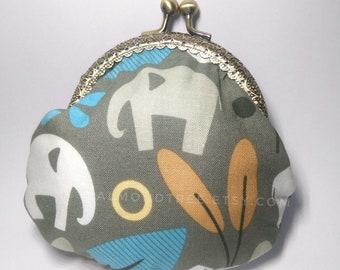 Elephant, forest snap clasp purse, handmade kisslock snap metal frame pouch id171017, portefeuille, portemonnaie