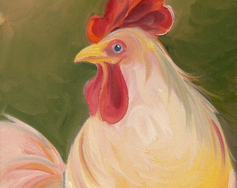IVORY CHICKEN  Original Oil Painting